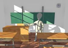 Personnage de dessin animé dans l'enseignement de salle de classe avant boa Photo stock