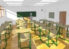 Personnage de dessin animé dans la salle de classe n'enseignant personne Photographie stock libre de droits