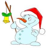 Personnage de dessin animé de bonhomme de neige Bonhomme de neige de Noël avec une cloche Photographie stock libre de droits