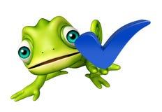 Personnage de dessin animé de caméléon avec le bon signe Image stock
