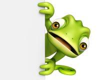 Personnage de dessin animé de caméléon d'amusement avec le conseil blanc Photo libre de droits