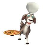 Personnage de dessin animé de chèvre avec le chapeau et la pizza de chef Image libre de droits