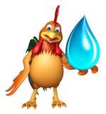 Personnage de dessin animé de Chiken avec la baisse de l'eau Images stock