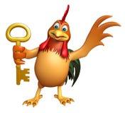 Personnage de dessin animé de Chiken avec la clé Images libres de droits