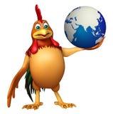 Personnage de dessin animé de Chiken avec la terre Images stock