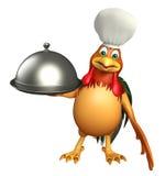 Personnage de dessin animé de Chiken avec le chapeau et la cloche de chef Image libre de droits