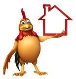 Personnage de dessin animé de Chiken avec le signe à la maison Photo stock