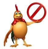 Personnage de dessin animé de Chiken avec le signe d'arrêt Illustration Libre de Droits