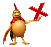 Personnage de dessin animé de Chiken avec le signe faux Illustration de Vecteur