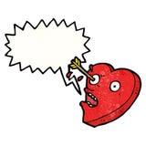 personnage de dessin animé de coeur frappé par amour Image stock