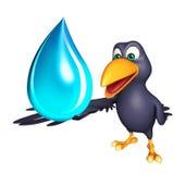 Personnage de dessin animé de corneille avec la baisse de l'eau illustration libre de droits
