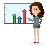 Personnage de dessin animé de femme d'affaires Photos stock