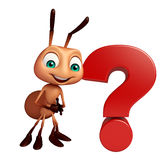 Personnage de dessin animé de fourmi avec le signe de point d'interrogation Photo libre de droits