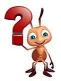 Personnage de dessin animé de fourmi avec le signe de point d'interrogation Photo stock