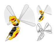 Personnage de dessin animé de guêpe de robot illustration stock