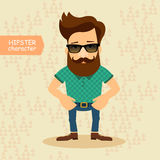 Personnage de dessin animé de hippie Illustration de vecteur de style de mode de vintage Photo libre de droits