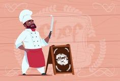 Personnage de dessin animé de Holding Knife Smiling de cuisinier de chef d'afro-américain dans l'uniforme blanc de restaurant au- Photo stock