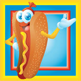 Personnage de dessin animé de hot-dog avec le cadre Images stock