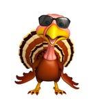 personnage de dessin animé de la Turquie d'amusement avec des sunglass Image stock