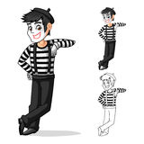 Personnage de dessin animé de Leaning Against Pose d'artiste de pantomime Images stock