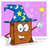 Personnage de dessin animé de livre de magicien retenant une baguette magique magique illustration stock