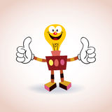 Personnage de dessin animé de mascotte de robot d'ampoule Photo libre de droits