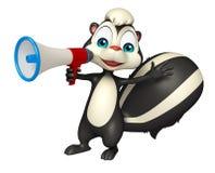 Personnage de dessin animé de mouffette d'amusement avec le haut-parleur bruyant illustration de vecteur
