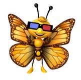 personnage de dessin animé de papillon d'amusement avec 3D gogal Photo stock