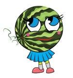 Personnage de dessin animé de pastèque Photographie stock