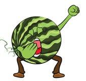 Personnage de dessin animé de pastèque Images stock
