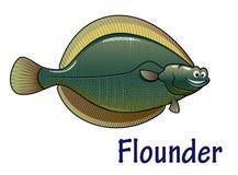 Personnage de dessin animé de poissons de flet Image libre de droits