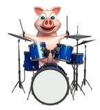 personnage de dessin animé de porc d'amusement avec le tambour Photo stock