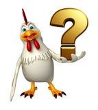 Personnage de dessin animé de poule avec le signe de point d'interrogation Image libre de droits