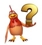 Personnage de dessin animé de poule avec le signe de point d'interrogation Image stock