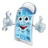 Personnage de dessin animé de réparation de téléphone Image stock