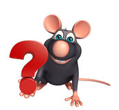 Personnage de dessin animé de rat avec le signe de point d'interrogation Photo stock