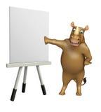 Personnage de dessin animé de rhinocéros d'amusement avec le panneau de chevalet Photo stock