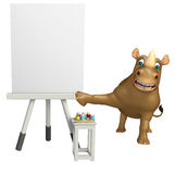 Personnage de dessin animé de rhinocéros d'amusement avec le panneau de chevalet Images stock