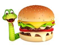 Personnage de dessin animé de serpent d'amusement avec l'hamburger Image libre de droits