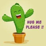Personnage de dessin animé de sourire de cactus demandant une étreinte Photo libre de droits