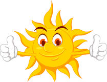 Personnage de dessin animé de Sun avec le pouce  Images libres de droits