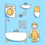 Personnage de dessin animé de travailleur de plombier Caractère masculin se tenant dans la salle de bains tenant la clé de boîte  Image stock