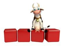 Personnage de dessin animé de vache avec le niveau Photographie stock