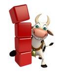 Personnage de dessin animé de vache avec le niveau Photographie stock libre de droits