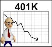 Personnage de dessin animé devant un diagramme Image stock