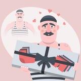personnage de dessin animé drôle Sans cadeau était mauvais, avec une sorte de cadeau, calme et dans l'amour Illustration de vecte illustration stock