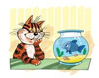 Personnage de dessin animé drôle d'humeur de poissons d'aquarium de chat Photos stock