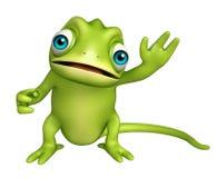 Personnage de dessin animé drôle de caméléon mignon Images stock