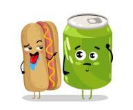 Personnage de dessin animé drôle de hot-dog et de boîte de soude Photos libres de droits