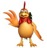 Personnage de dessin animé drôle de poulet d'amusement Photo stock
